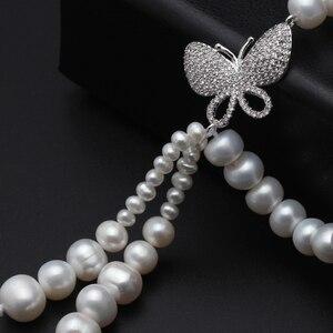 Image 5 - Süßwasser perle perlen halskette 925 silber schmuck, Echt perle festival halskette frauen quaste schmuck schmetterling