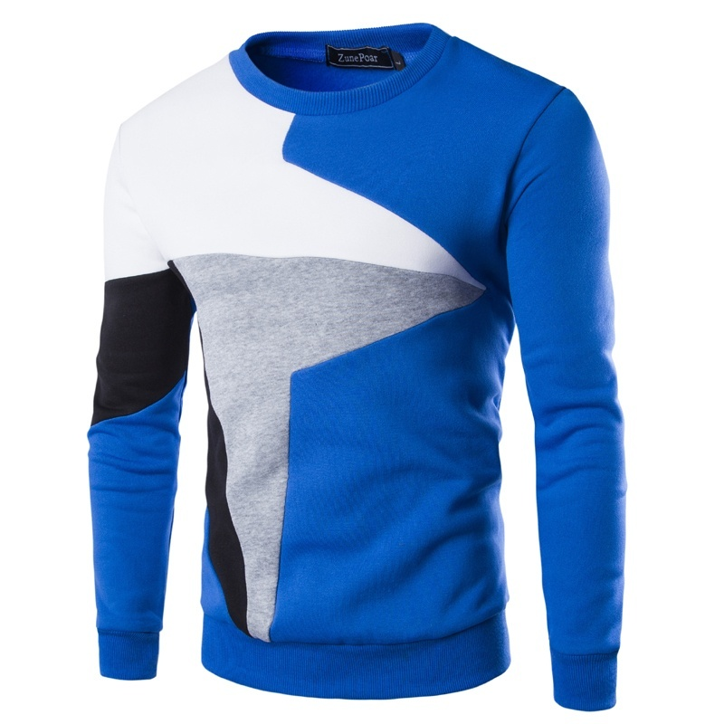 ZOGAA Pullover 2018 New Autumn And Winter 3 Color Men's Color Matching Casual Long Sleeve Pullover Sweater Size XXS-4XL