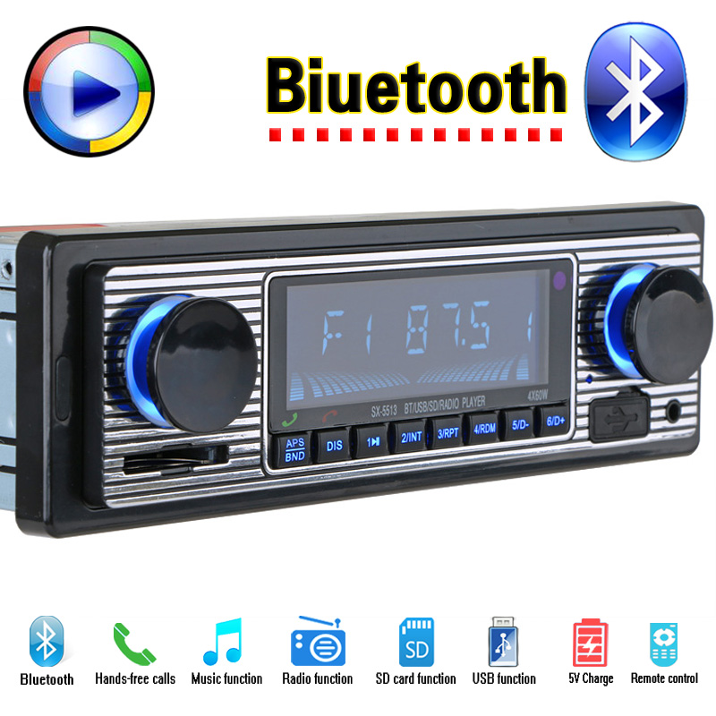 12V Car Radio Player Bluetooth Stereo FM MP3 USB SD AUX Audio Auto Electronics autoradio 1 DIN oto teypleri radio para carro car usb sd aux adapter digital music changer mp3 converter for skoda octavia 2007 2011 fits select oem radios