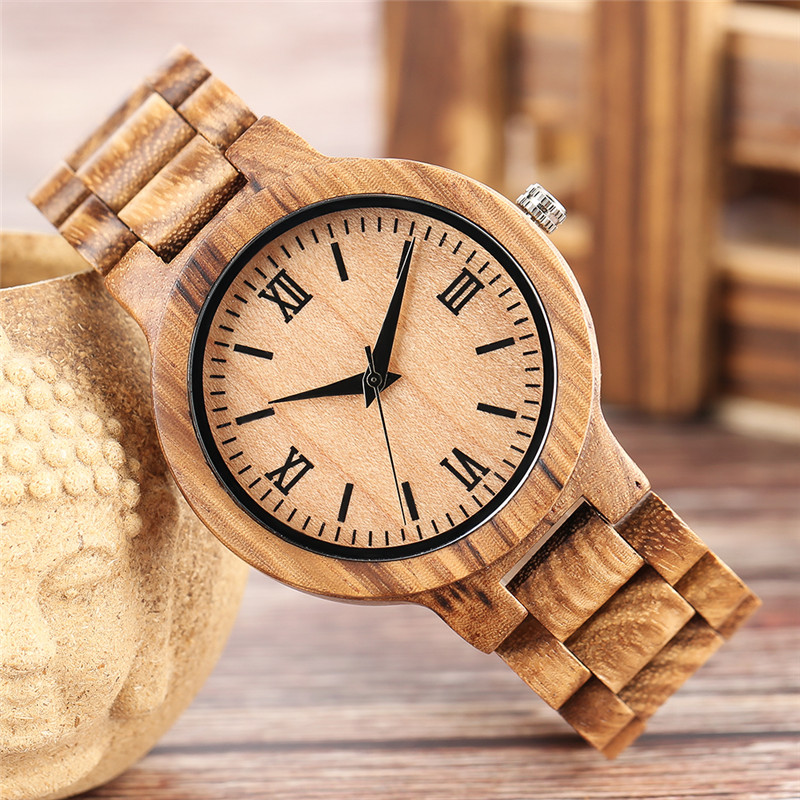 Simple Novel Nature Full Wood Watch Men Women Bamboo Quartz Watches Handmade Cool Wooden Clock Gifts Unique Roman Numbers Hours bobo bird brand new sun glasses men square wood oversized zebra wood sunglasses women with wooden box oculos 2017