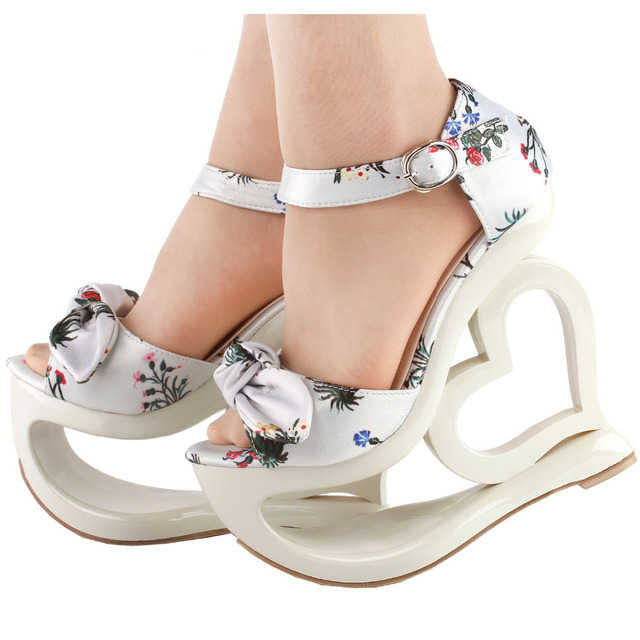 d6b6569ca LF40213 SHOW STORY Elegant Floral Print Bow Ankle Strap Heart Heel Wedge  Bridesmaid Wedding Sandals
