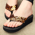 CoffeSummer Sapatos Plataforma Das Mulheres Sandálias de Cunha Flip Flops Sapato Feminino de Salto Alto chinelos Plataforma Chanclas