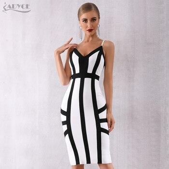 цена на Adyce 2020 New Summer Women Bodycon Bandage Dress Vestido Elegant White Spaghetti Strap Striped Club Dress Celebrity Party Dress
