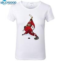 New Summer Fashion Funny Ice Hockeyer Women T Shirts Short Sleeve Printed Tees Shirts Soft Cotton