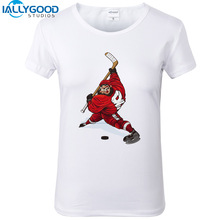 New Summer Fashion Funny Ice Hockeyer Women T-Shirts Short Sleeve Printed Tees Shirts Soft Cotton White Tops S1298