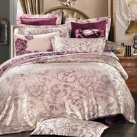 Purple Solid Color Bed Sheets Jacquard Duvet Cover Pillow Case Soft 4cps Bedding Sets For Adults