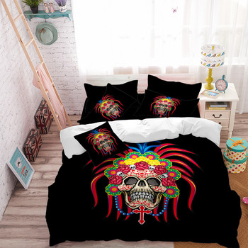 Exotic Skull Bedding Set Colorful Feather Print Duvet Cover Bohemia Bed Cover Bed Linens Flat Sheet Pillow Case Home Decor D49