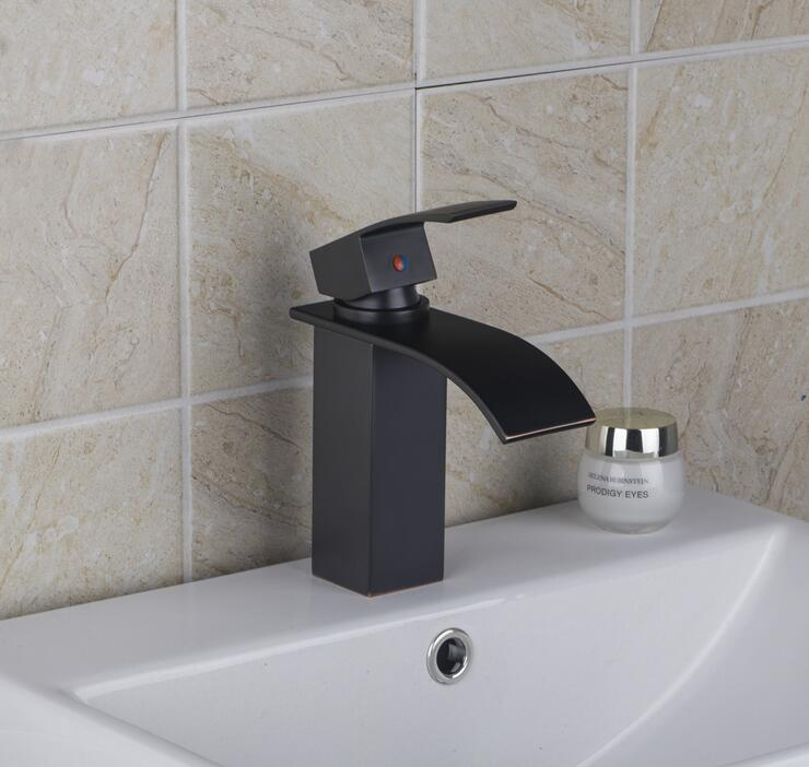 Copper sink basin faucet water tap black, Bathroom ORB wash basin faucet waterfall, Brass single hole basin faucet hot and cold wall of the cold and hot water tap copper concealed washbasin single hole basin faucet stainless steel waterfall faucet lt 304 4