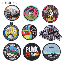 ZOTOONE Round Badge Patches Colorful Stickers Diy Iron on Clothes Heat Transfer Applique Embroidered Applications Cloth Fabric G zotoone round punk patches diy skull stickers iron on clothes heat transfer applique embroidered applications cloth fabric g