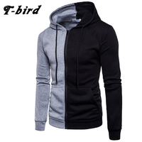 T Bird New Hoodies Men 2017 Male Long Sleeve Hoodie Two Color Stitching Sweatshirt Mens Moletom