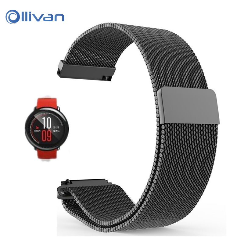 NEW 22mm Milanese Loop Strap Magnetic Buckle for xiaomi Huami Amazfit strap Watch Band Stainless Steel Quick Release Wrist Belt