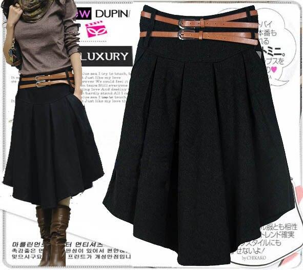 92824d48e62702 € 21.8 10% de réduction Nouveauté automne hiver jupe en laine pour femmes  grande taille mi longue jupe taille haute plissée jupe noir gris jupes ...