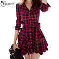 Tangnest mulheres plaid red black dress 2017 manga comprida preppy estilo casual turn-down collar mini vestidos vestidos de primavera wql2283