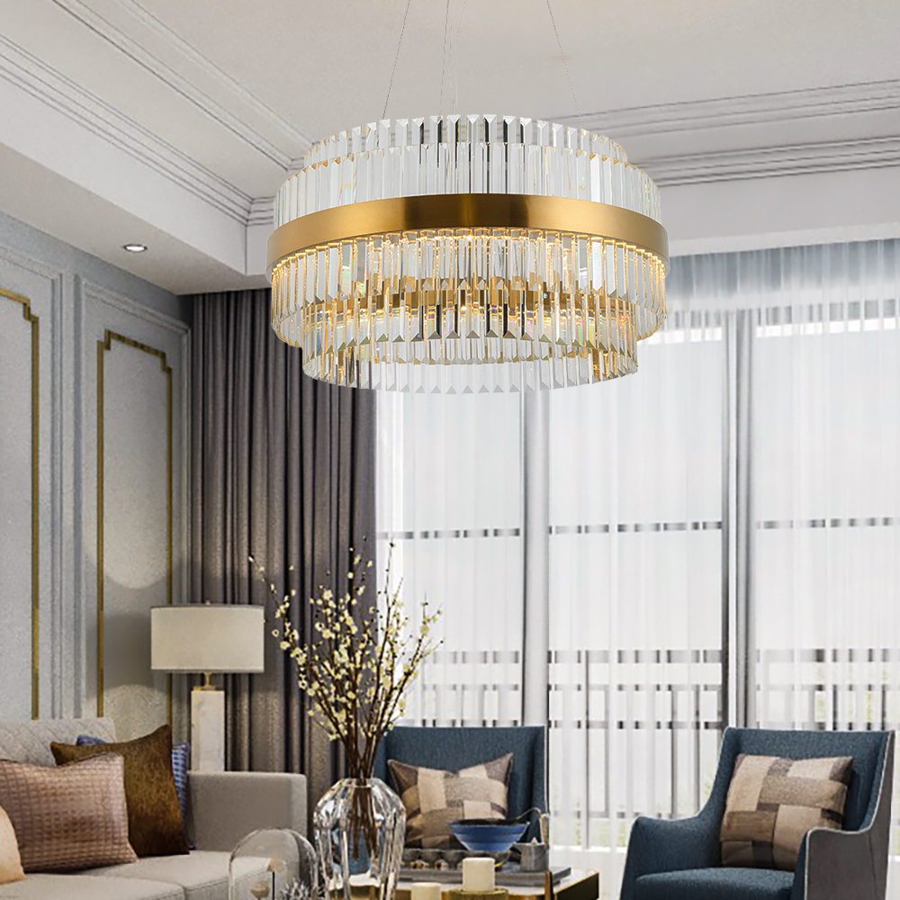 Contemporary Luxury Gold Crystal Chandelier Lighting For Living Dining Room LED Chandeliers 2