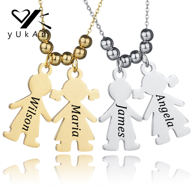 56babd95a YUKAM Stainless Steel Womens Personalized Engraved Custom Name Necklace  Couples Necklaces Baby Boys Girls Pendant Necklaces Gift
