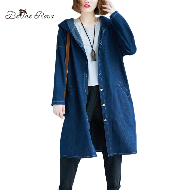 ef629ecf181 BelineRosa 2018 Women s Plus Size Coats Autumn Winter Denim Coats Female  Big Sizes Oversized Women Clothes 4XL 5XL 666DM003