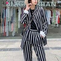 RZIV Spring female suit casual striped pocket decorative suit
