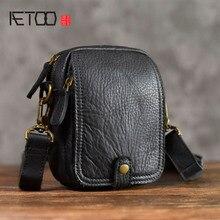 AETOO кожаная сумка-мессенджер Повседневная винтажная кожаная сумка на плечо для телефона мини Мужская мягкая кожаная маленькая сумка