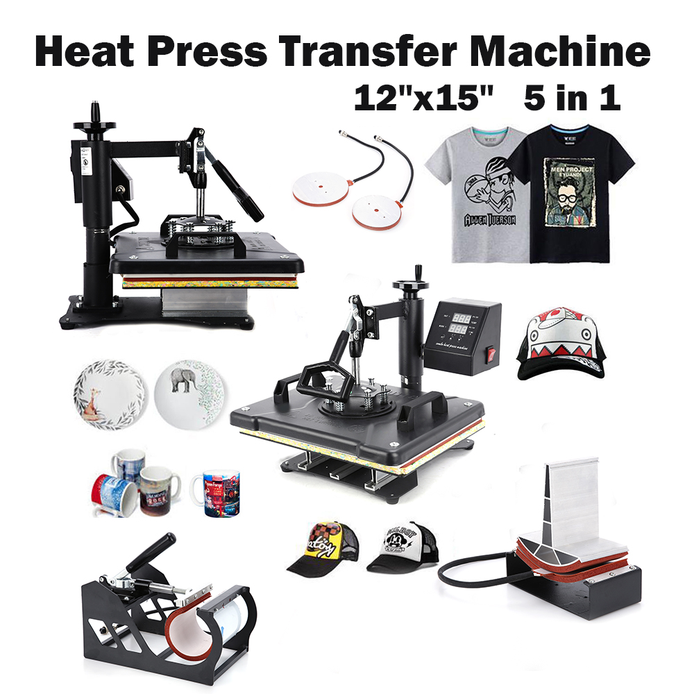 Digital Heat Press Transfer Machine Transfer Sublimation for T Shirt Mug Hat Print Heat Transfer Machine 1/set 12 x 15 5 in