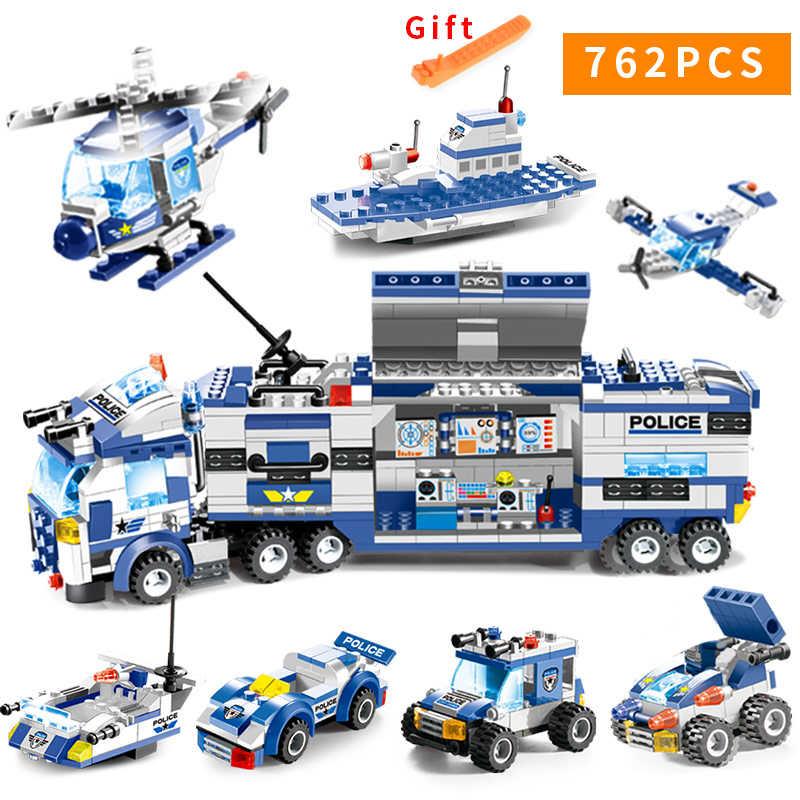 8 في 1 SWAT مركز شرطة المدينة اللبنات شخصيات شرطي LegoED كتل بندقية تجميعها الشرطة لعبة على شكل شاحنة للأطفال