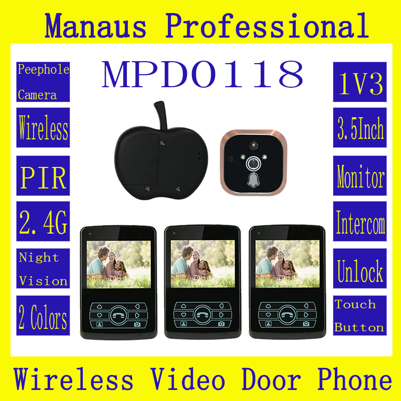 Profession Intercom Wireless Systems for Home,Remote Unlock One to Three Video Digital Wireless Front Door Peephole Camera D118b d114b smart home 1v2 wireless intercom one to two video door phone 2 4g digital pir detection video door peephole camera