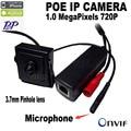 720 P mini cámara del ip del poe mini Micrófono POE onvif p2p mini cámara ip de vigilancia Con externa POE Power Over Ethernet