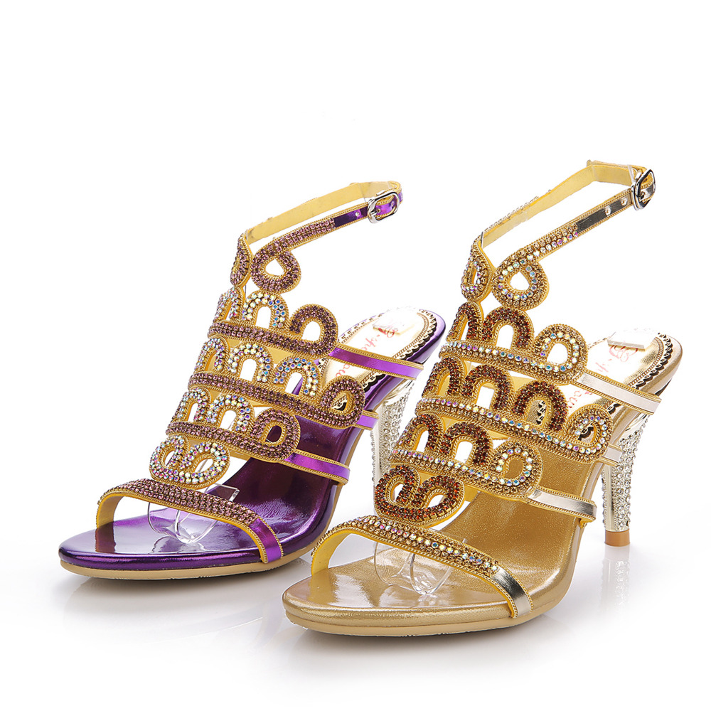 Women's sandals with bling - Gold Purple Rhinestones Med Heels Women Sandals Crystals Wedding Shoes Sandal Ankle Strap Crystals Bridal