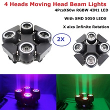 2XLot 4 Heads Beam Lights High Quality 4X60W RGBW 4IN1 LED Beam Moving Head Wash Lights DMX512 Stage LED Dj Xmas DMX Disco Light