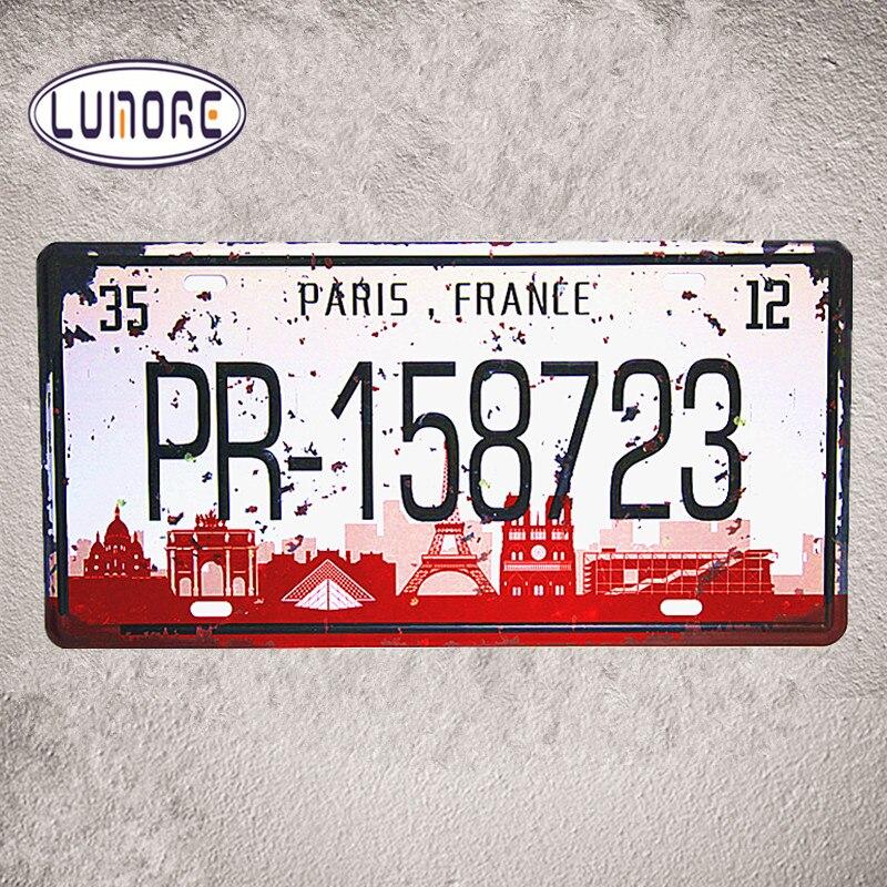 ⊱París Francia pr-158723 Marcos de matrícula shabby chic Tin metal ...