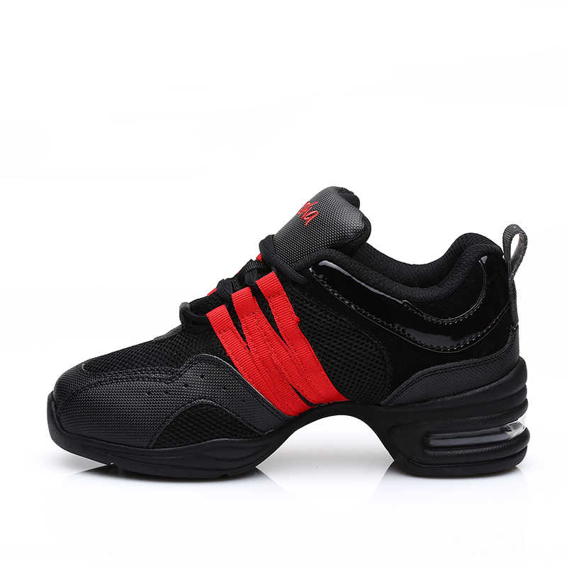 Modern Dance Shoes Black+Red Men and Women Square Dance Comfortable Soft Bottom Fitness Sports Wear Shock Absorption Breathable
