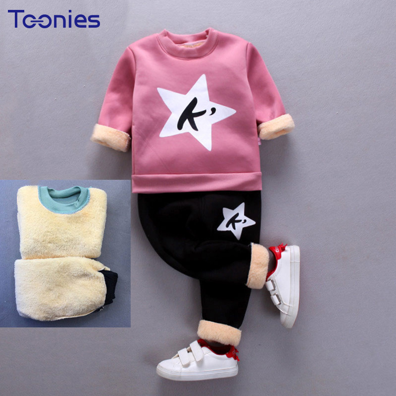 Children Clothing Sets Warm Cotton Infant Costume Winter Cashmere Girls Sportswear Cute Letter Printing Boys Pants Suits Casual