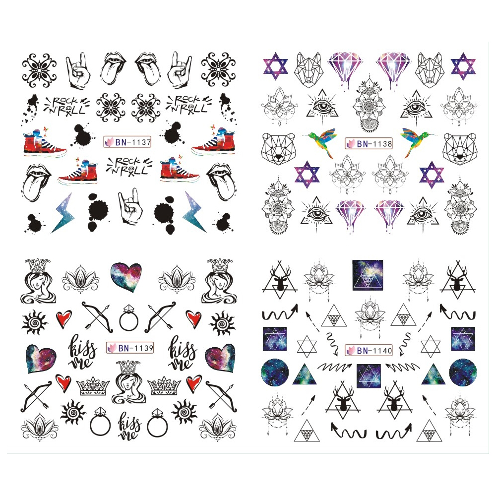 12pcs Nail Water Stickers Galaxy Wraps Jewelry Flowers Adhesive Geometry Black Watercolor Image Manicure Tools BEBN1129 1140 in Stickers Decals from Beauty Health