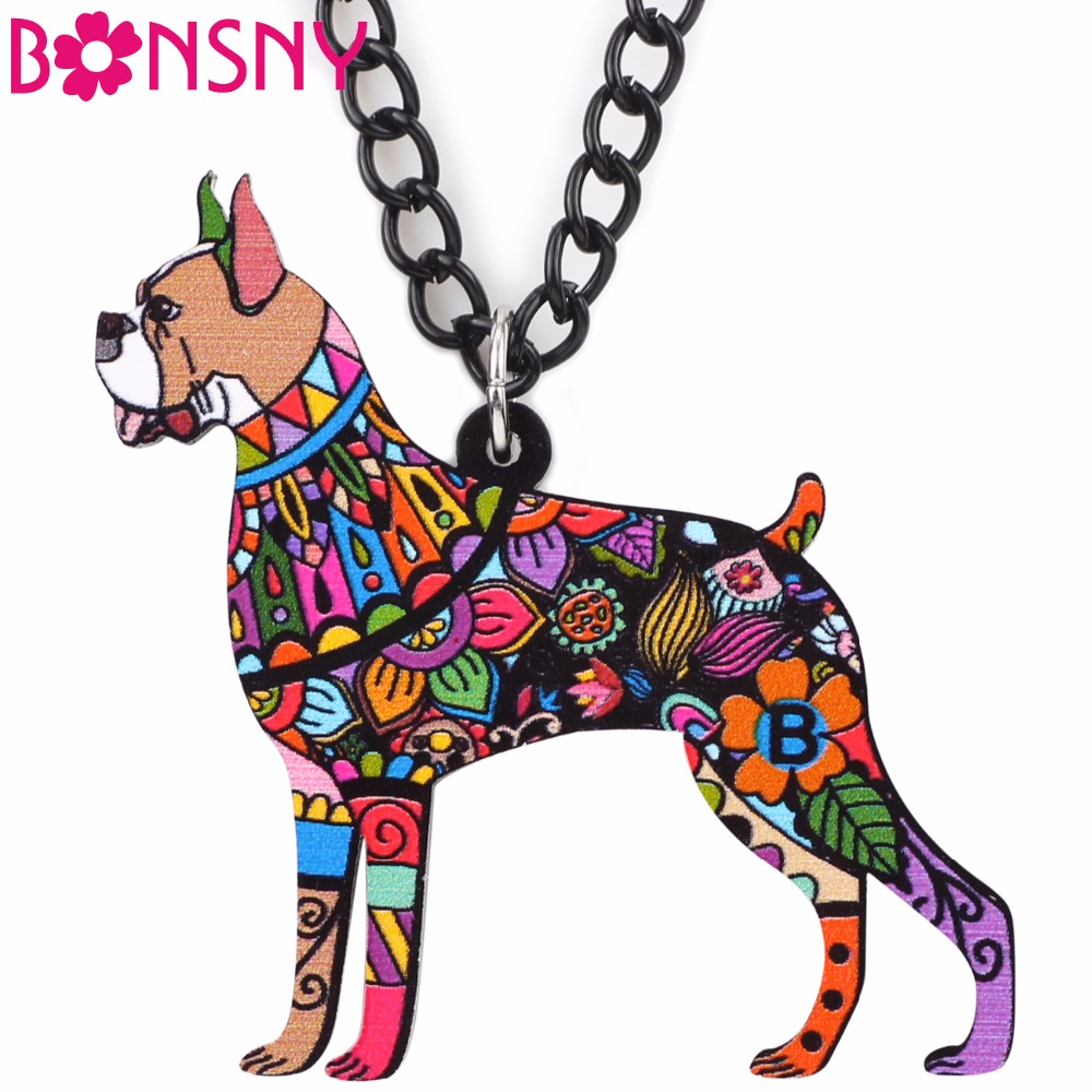Bonsny Lovely Boxer Dog Necklace Pendant Acrylic Pattern New Fashion Animal Jewelry For Women Charm Collar Choker Bijoux Gifts