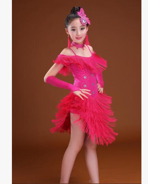 Kids Dancewear Latin Dance Dress for Girls Performance Backless Fringe Dresses Children Dance Dress Competition