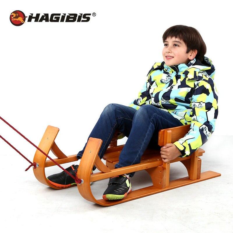 Traîneau enfant en bois HAGIBIS, planche à roulettes en hêtre pour enfants, traîneau de Sport en plein air d'hiver, luge à neige, slittino neve