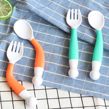 Baby Cutlery For Children 1 Spoon And 1 Fork Flexible Baby Feeding Spoon Infant Feeding Spoon Fork Safety Eating Tools(China)