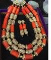 Lindo 3 Camadas vestido de Casamento Nigeriano Contas de Coral Conjunto de Jóias Acessórios Colar de Jóias de Ouro Africano Definir Frete Grátis CNR683
