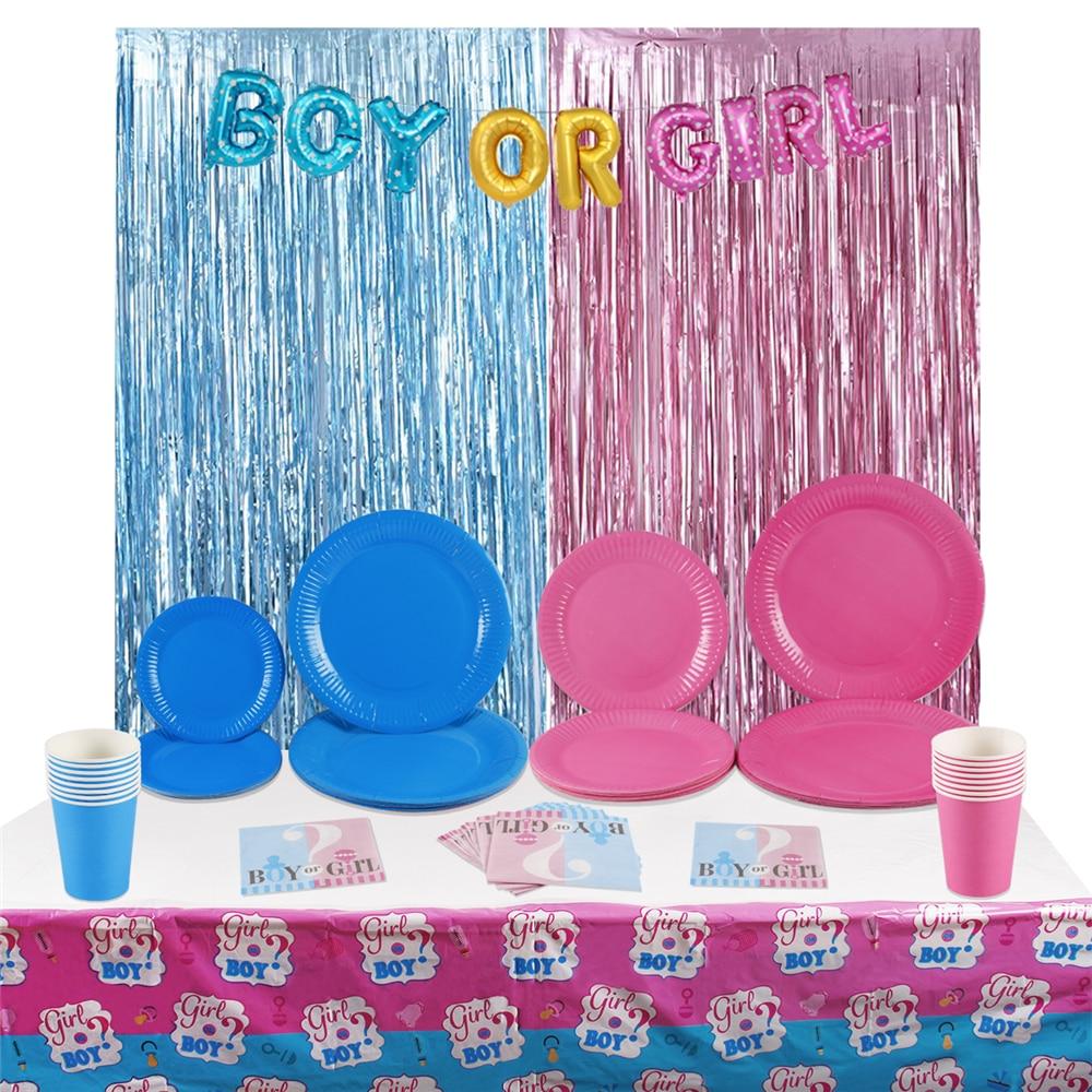 PATIMATE 68 шт. Детские вечерние украшения для душа для мальчиков или девочек Синий Розовый одноразовый набор посуды для Декор для вечеринки в че...