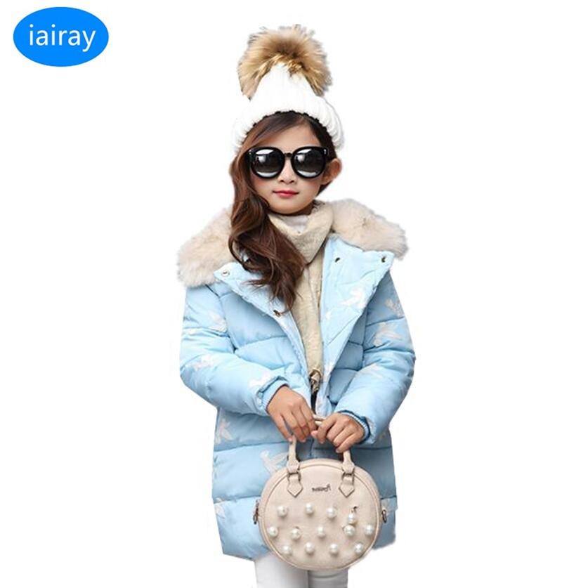 iairay faux fur collar warm long jacket for girls blue pink red girl winter coat children's outerwear teen girls winter clothing стоимость