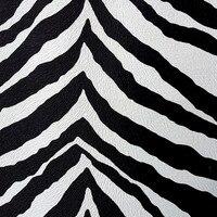 Black And White Stripe Synthetic PVC Leather Imitation Big Zebra Skin Fabric Material