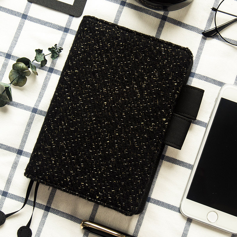 2018 Yiwi Gold Wave Point Black Woolen A5 A6 Hobonichi Style Diary Billbook A6 A5 Notebooks Hobo Cover Stationery Knitting стоимость