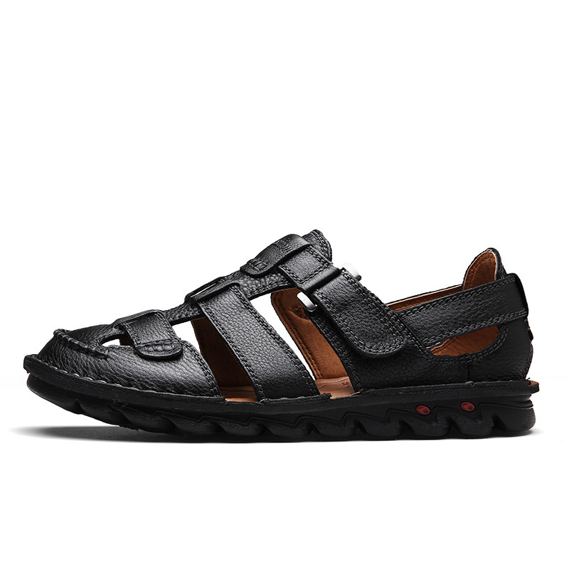 D'été Grande Main Souple 48 38 Classique En brown Qualité Mâle Taille Haute La Chaussures Cuir Hommes Sandales Black À Yvg7Ypx