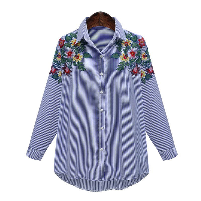 2017 autumn floral embroidered blouses woman high quality for Embroidered work shirts online