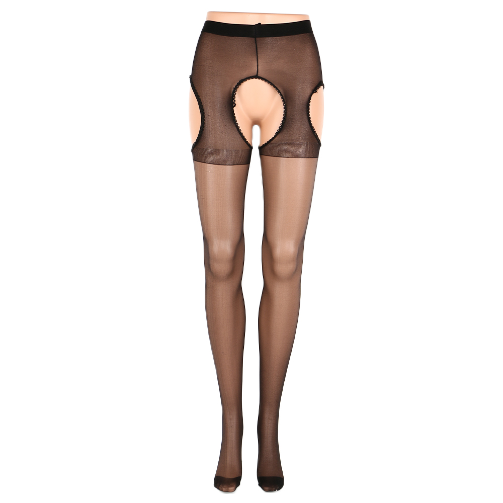 Sexy Open Crotch Tights Women Crotchless Ultra-thin High Tights Stretchy Sheer Pantyhose Black Tights Stocking