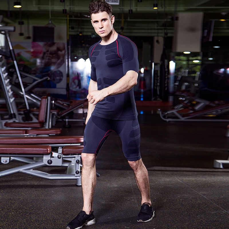 b50554e4 ... Yuerlian быстросохнущая компрессионный костюм для мужчин фитнес  колготки для новорождённых Спортивная кофта тренажерный зал футболка шорты  ...