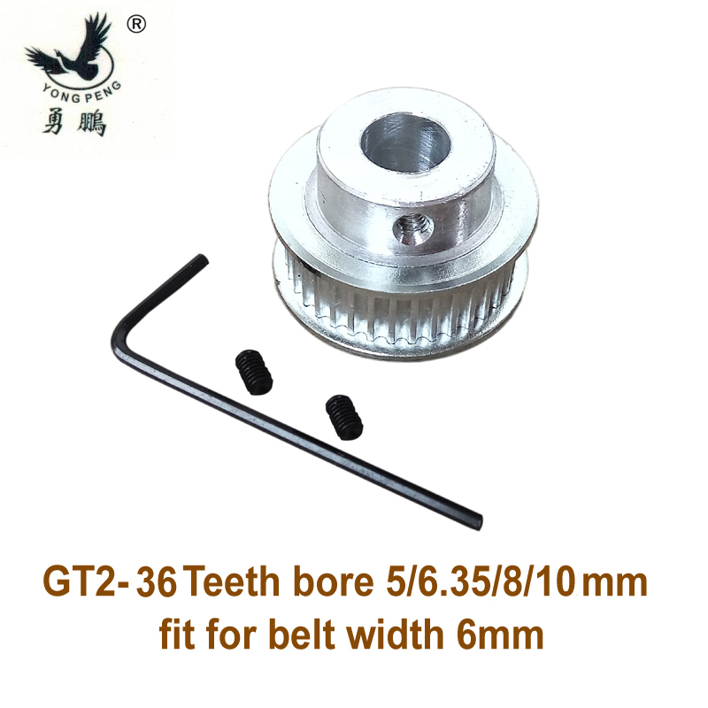 high quality 1pc 36 teeth GT2 Timing belt Pulley bore 5 6.35 8 10mm fit width 6mm of 2GT timing Belt for 3D printer cnc machine powge 8pcs 20 teeth gt2 timing pulley bore 5mm 6mm 6 35mm 8mm 5meters width 6mm gt2 synchronous 2gt belt 2gt 20teeth 20t