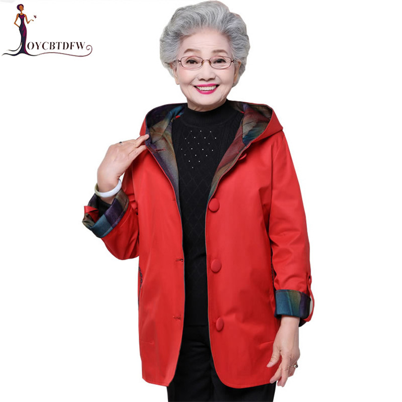 Middle-aged women spring windbreaker mediun long large size XL-5XL hooded female coat fashion single-breasted   Trench   coat LDT582