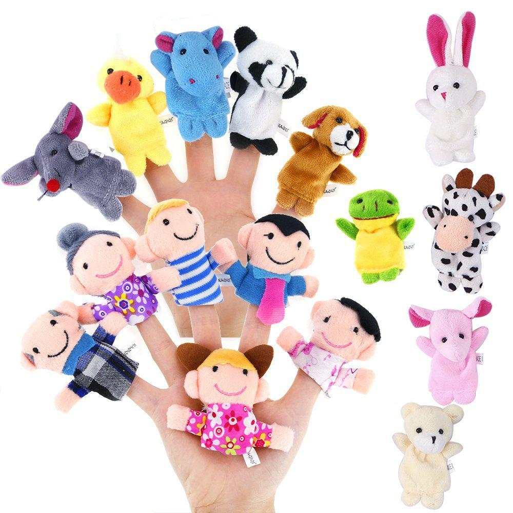 16 PCS Cute Cartoon Biological Animal Finger Puppet Plush Toys Child Baby Favor Dolls Tell Story Props Boys Girls Finger Puppets