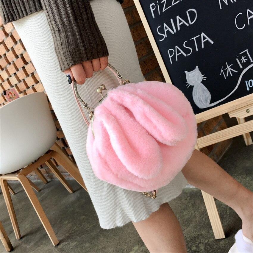 bd2af60f78 TOYOOSKY Women Bags Furry Funny Rabbit Ear Fluffy New Metal Handle Soft Fur  Plush Cute Shoulder Bags Handbags Purse Kawaii Lolit-in Shoulder Bags from  ...