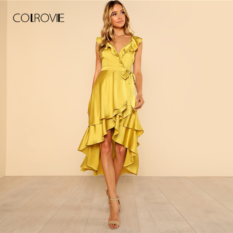 Women's Clothing Colrovie Green Surplice Wrap Layered Ruffle Glitter Dress Women 2019 Glamorous Spring Summer V Neck Female Fit And Flare Dresses